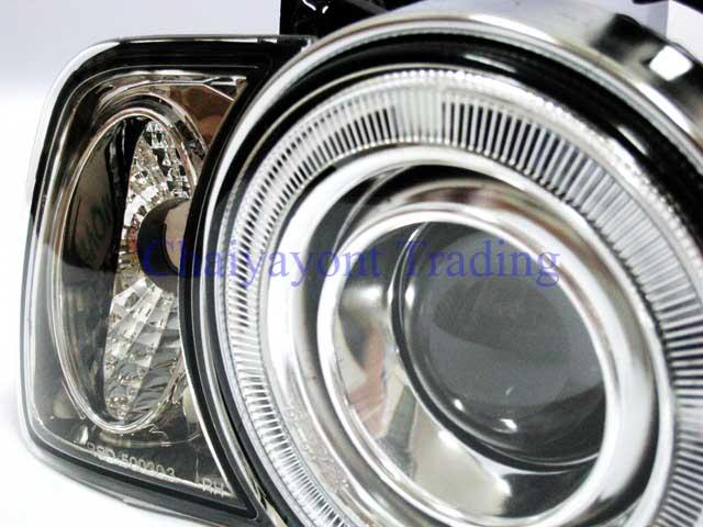 ชุดแต่งรถไฟหน้า RH วงแหวนคู่ CCFL Projector Clear Angel Eye Chrome Type BMW E34 518i 520i 525i