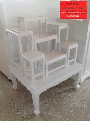โต๊ะหมู่บูชาสีขาวสไตล์วินเทจ โต๊ะหมู่บูชาราคาถูก โต๊ะหมู่บูชาราคาโรงงาน
