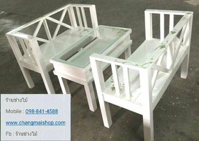 ชุดเฟอร์นิเจอร์สีขาวเพ้นท์ลาย  ชุดโต๊ะร้านกาแฟ โต๊ะร้านอาหาร เฟอร์นิเจอร์ราคาโรงงาน