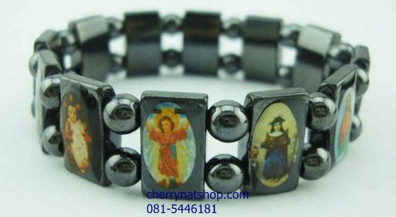 สร้อยข้อมือพลังแม่เหล็ก จากหินแม่เหล็กดำ(Magnetic black gallstone)ลายพระเยซูคริส์,นักบุญ 2