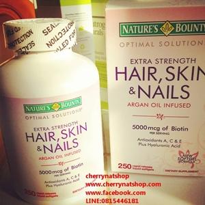 Nature\'s Bounty วิตามินบำรุงผมดกหนา ผิวกระจ่างใส เล็บสวย Hair, Skin and Nailsไบโอติน5000mcg 250เม็ด