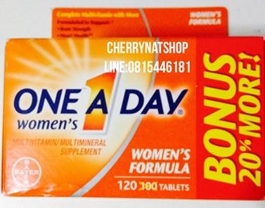 วิตามินรวมวันละเม็ดสำหรับผู้หญิง One a Day Women\'s One Multivitamin (Bonus Pack 120เม็ด)