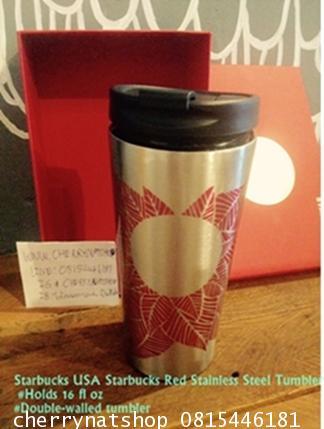 แก้วสะสมStarbucks USA Starbucks Red Stainless Steel Tumbler 16 fl oz Comes with Beautiful Red Gift B