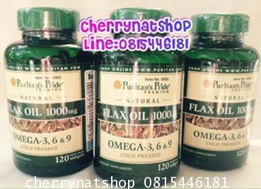 Puritan's Pride Natural Flaxseed (Linseed) Oil 1000mg Omega-3,6 Omega 9 จำนวน120Softgelsนำเข้าจากUSA