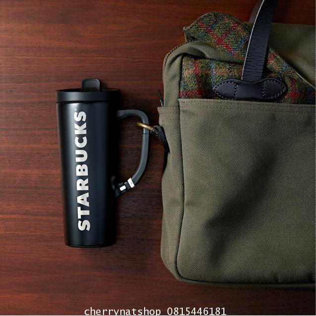+ขายแก้วสตาร์บัคอเมริกาแบบคลิปติดกระเป๋าเป้ได้ Stainless Steel Clip Handle Tumbler - Black, 16 fl oz