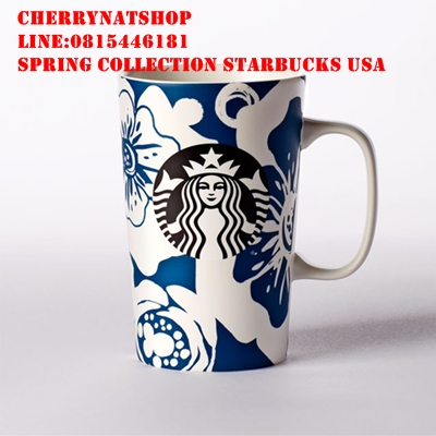 Floral Mug - Blue, 16 fl oz A grande ceramic coffee mug with a tropical flower design in white  blue