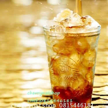 แก้วสตาร์บัคอเมริกาเก็บความเย็นได้นาน!!Cold cup;Starbucks® Recycled Glass Cold Cup, 16 ozแก้วหนา5มิล