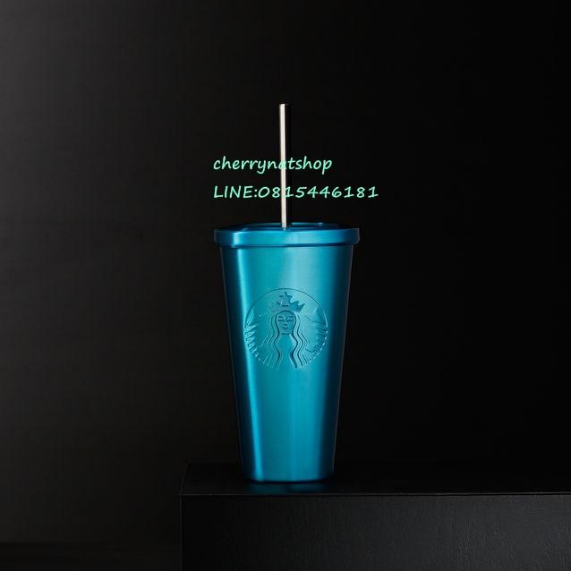 ตามจนเจอแก้วสตาร์บัคอเมริกาStainless Steel Cold Cup Turquoise, 16 fl ozสีฟ้าน้ำทะเล สีนี้หายากมีตำหน
