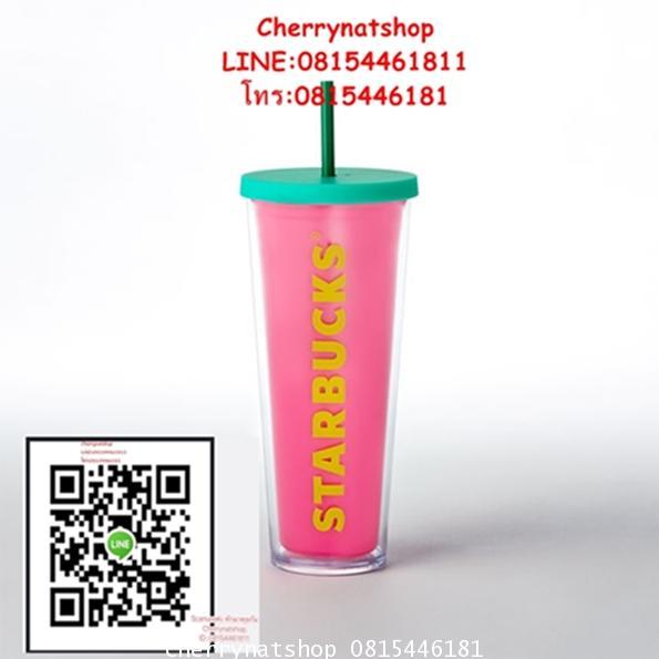 Starbucks USA Cold Cup Hot Pink,24 oz สมชื่อ hot pinkจริงๆค่ะ สีชมพูสดใสมากๆค่ะค่ะ สวยจริง ว่าง1ใบ