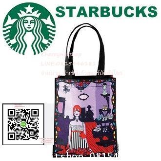 กระเป๋าlimited edition STARBUCKS  ANNA SUI collaborator bag Starbucks  tote bag logo STARBUCKS ANNA