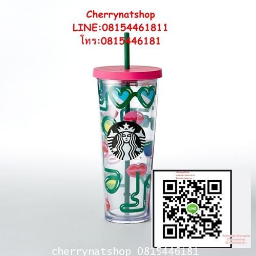 Hot Item Starbucks USA :Crazy Straws Cold Cup,24ozลายการาฟิคเก๋ๆมีดีไซน์สดใสเหมาะกับแก้วเก็บเย็นจริง