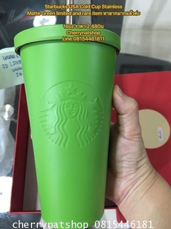 !Limited Edition Starbucks USA  Cold Cup Tumbler - Matte Green 369, 16 Fl Ozสีเขียวด้านที่ใครๆตามหา