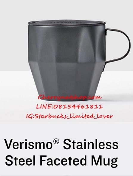 แก้วสตาร์บัคส์อเมริกาใบเท่สแตนเลสดำด้านทรงตัดเหลี่ยมเพชรlimited Verismo® Stainless Steel Faceted Mug