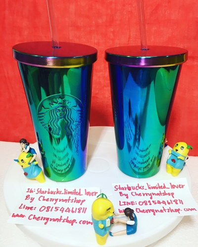 Starbucks USA Limited Cold Cup 16oz สีเขียวประกายม่วงรุ้งวาวสวยมากๆคล้ายสีปีกแมลงทับ หายากไม่มีในไทย