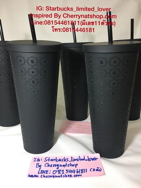 แก้วสตาร์บัคส์เก็บเย็นใบใหญ่สีดำด้าน Starbucks USA Matte Black Pattern Cold Cup เท่มาก หายากด้วยค่ะ