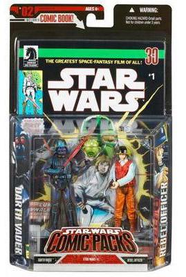 Darth Vader and Rebel Officer Comic Packs