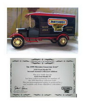 1999 Matchbox Collectors Guild  1926 Ford Model TT Second Annual Collectors Edition