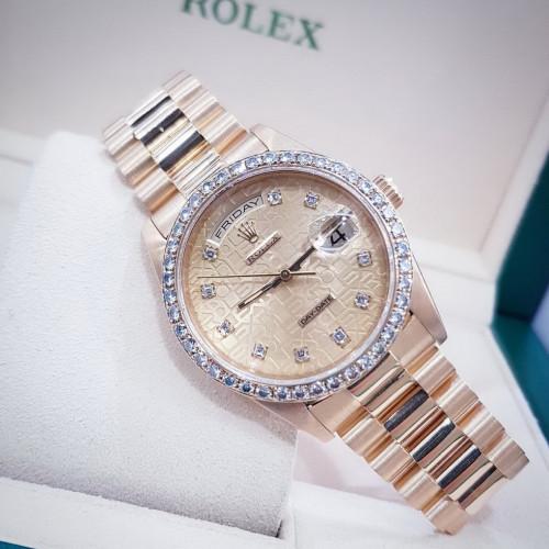 Rolex 18238 Day-Date Size 36 min King หน้าคอมทอง เลขเพชร เรือนทอง Yellow gold 18K ทั้งเรือน