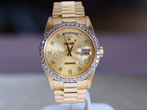 Rolex Day Date 18238 คอมทองเพชร ขอบเพชร