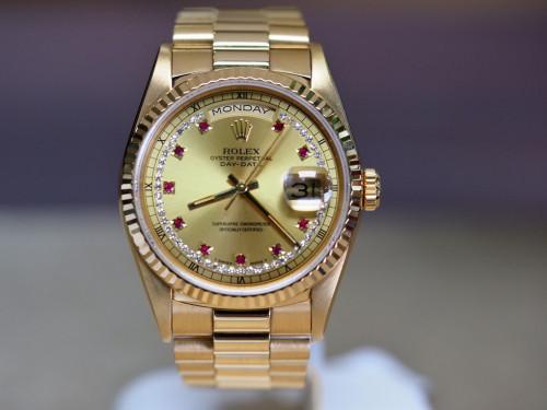 Rolex Day Date 18238 ทองทับทิมเพชร