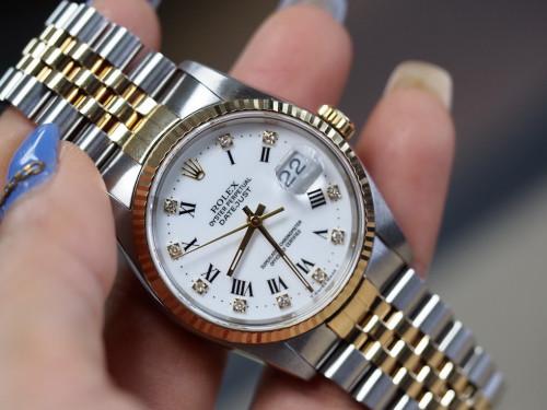 Rolex Date just 16233 ขาวโรมันฝังเพชร