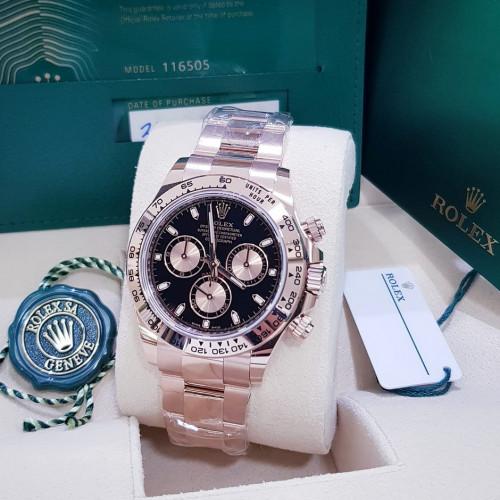 Rolex Sport 116505 DAYTONA Size 40 min หน้าดำ เรือนทอง Pink gold 18K ทั้งเรือน มีใบกล่องอุปกรณ์ครบ