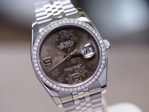 Rolex Date just 116244 ซากุระน้ำตาล ขอบเพชร