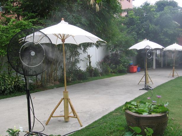 พัดลมไอน้ำระบบเดินสาย หัวฉีด ให้เช่าพัดลมไอน้ำ