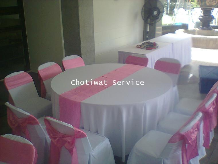 ให้เช่าโต๊ะจีนเช่าโต๊ะจีน เก้าอี้พลาสติกคลุมผ้า ผูกโบว์สีชมพู 1