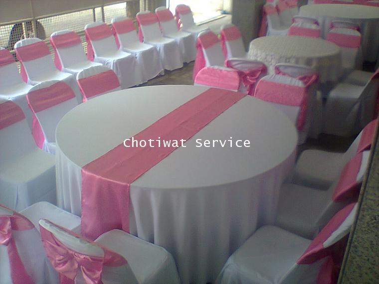 ให้เช่าโต๊ะจีนเช่าโต๊ะจีน เก้าอี้พลาสติกคลุมผ้า ผูกโบว์สีชมพู 2