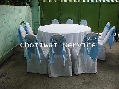 ให้เช่าโต๊ะจีนเก้าอี้เบาะ คลุมผ้าโบว์ฟ้า เช่าโต๊ะจีน