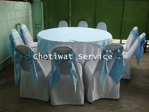 ให้เช่าโต๊ะจีนเก้าอี้เบาะ คลุมผ้าโบว์ฟ้า เช่าโต๊ะจีน 1