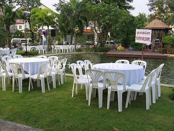 ให้เช่าโต๊ะจีนเก้าอี้พลาสติกสีขาว ไม่คลุมผ้า เช่าโต๊ะจีน 5