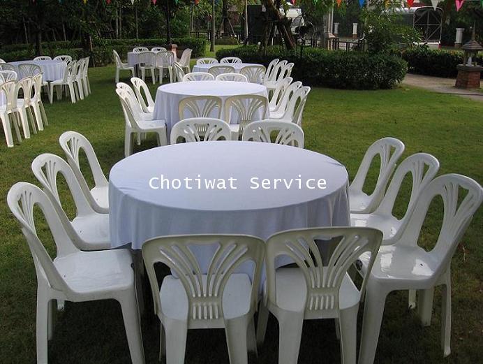 ให้เช่าโต๊ะจีนเก้าอี้พลาสติกสีขาว ไม่คลุมผ้า เช่าโต๊ะจีน 6