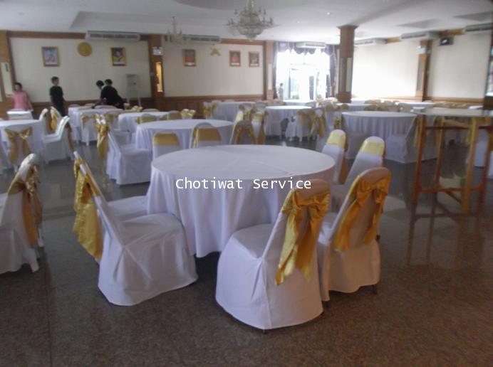 ให้เช่าโต๊ะจีน เช่าโต๊ะจีน แบบ VIP  เก้าอี้เบาะคลุมผ้า โบว์ทอง 7