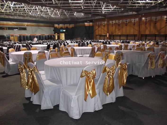 ให้เช่าโต๊ะจีน เช่าโต๊ะจีน แบบ VIP  เก้าอี้เบาะคลุมผ้า โบว์ทอง 5