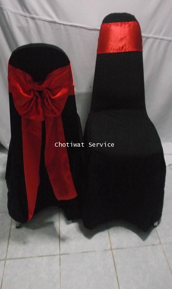 ให้เช่าเก้าอี้ เช่าเก้าอี้เบาะนวม คลุมผ้าสีดำ ผูกโบว์ 3