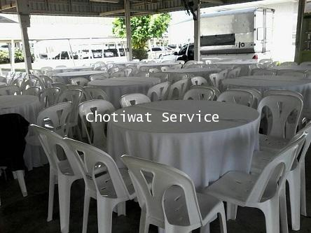 ให้เช่าโต๊ะจีนเก้าอี้พลาสติกสีขาว ไม่คลุมผ้า เช่าโต๊ะจีน