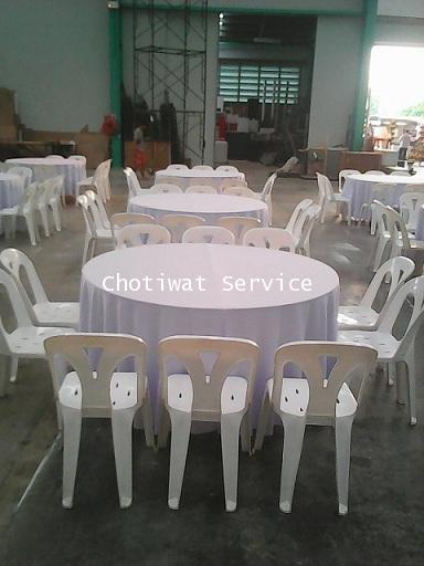 ให้เช่าโต๊ะจีนเก้าอี้พลาสติกสีขาว ไม่คลุมผ้า เช่าโต๊ะจีน 2