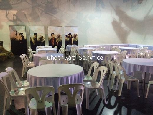 ให้เช่าโต๊ะจีนเก้าอี้พลาสติกสีขาว ไม่คลุมผ้า เช่าโต๊ะจีน 3