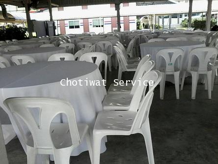 ให้เช่าโต๊ะจีนเก้าอี้พลาสติกสีขาว ไม่คลุมผ้า เช่าโต๊ะจีน 4