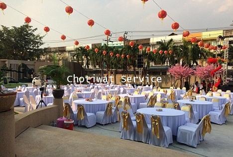 ให้เช่าโต๊ะจีน เช่าโต๊ะจีน แบบ VIP  เก้าอี้เบาะคลุมผ้า โบว์ทอง
