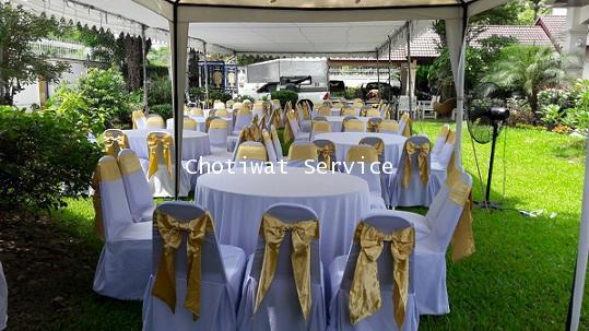 ให้เช่าโต๊ะจีน เช่าโต๊ะจีน แบบ VIP  เก้าอี้เบาะคลุมผ้า โบว์ทอง 2