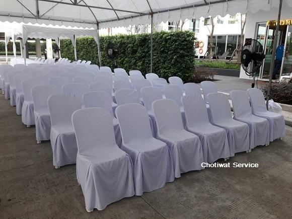 เช่าเก้าอี้ พลาสติกสีขาว คลุมผ้า - ไม่คลุมผ้า ให้เช่าเก้าอี้พลาสติก 3