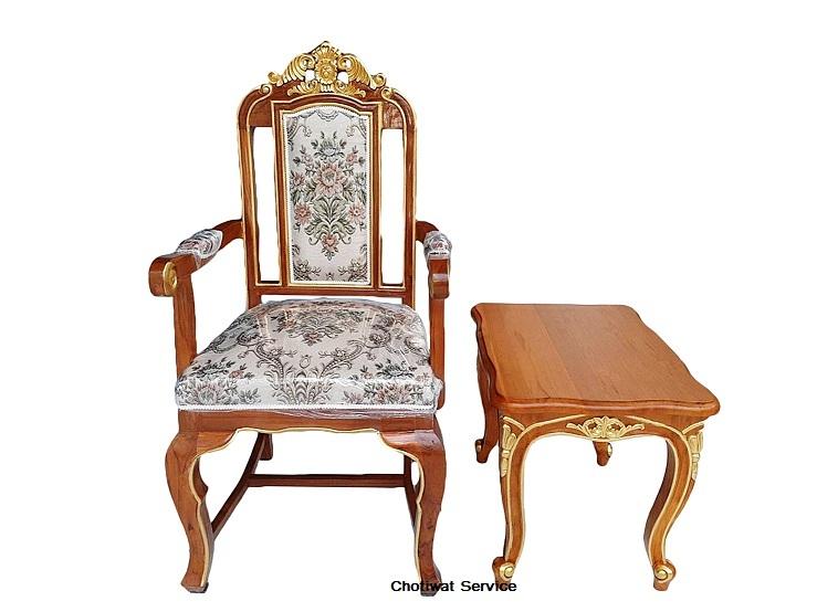 ให้เช่าเก้าอี้หลุยส์ ไม้สัก เดินทอง มีท้าวแขน 4