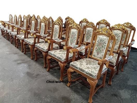 ให้เช่าเก้าอี้หลุยส์ ไม้สัก เดินทอง มีท้าวแขน 6