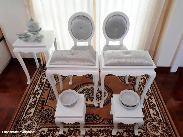 ชุดตั่งรดน้ำสังข์ให้เช่า ให้เช่าตั่งรดน้ำสังข์ สีขาว-เงิน  พร้อมอุปกรณ์ 4