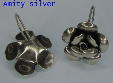 ตุ้มหูเงินกะเหรี่ยง รูปดอกกุหลาบ, ER-012-FL-5002 ตุ้มหูรูปดอกกุหลาบ