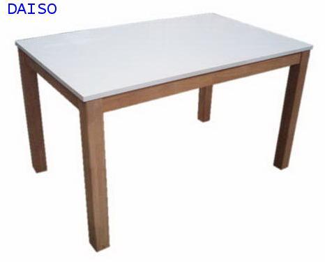 โต๊ะทานข้าวไม้ยางพารา/โต๊ะอาหารไม้ยางพาราหน้าไฮกล๊อสสีขาว, DPT-085