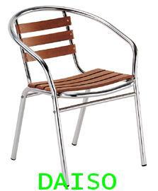 CD-112 เก้าอี้อลูมิเนียมมีท้าวแขน/เก้าอี้อลูมิเนียมพื้นนั่งไม้ (เลิกผลิต)